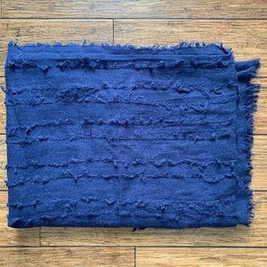 Blue Ripple Weave Textured Scarf
